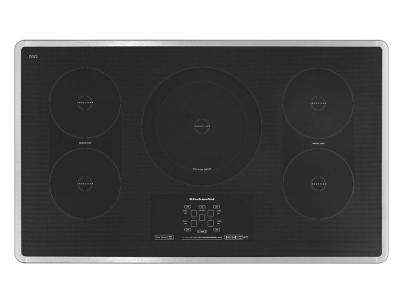 "36"" KitchenAid Induction Cooktop with 5 Elements, Touch-Activated Controls and Power Slider - KICU569XSS"