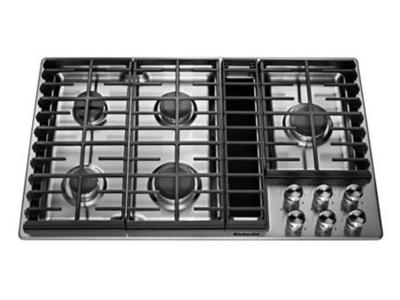 "36"" KitchenAid 5 Burner Gas Downdraft Cooktop - KCGD506GSS"
