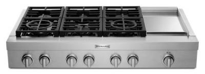"""48"""" KitchenAid 6-Burner Commercial-Style Gas Rangetop with Griddle - KCGC558JSS"""