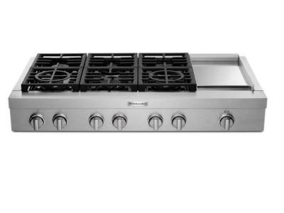 "48"" KitchenAid 6-Burner Commercial-Style Gas Rangetop with Griddle - KCGC558JSS"