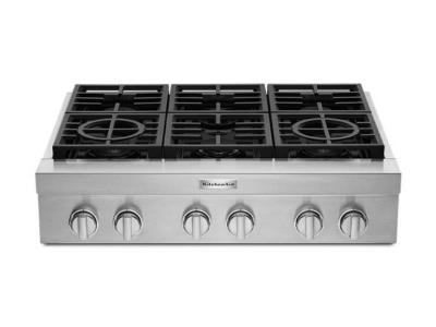 36''  KitchenAid 6-Burner Commercial-Style Gas Rangetop - KCGC506JSS