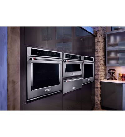 "27"" KitchenAid  Single Wall Oven with Even-Heat True Convection - KOSE507EBL"