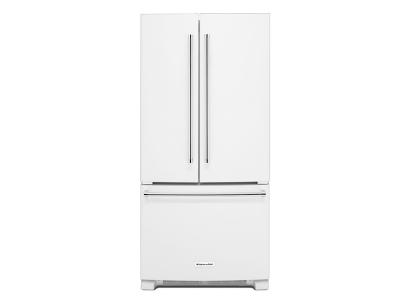 "33"" KitchenAid 22 cu. Ft. Width Standard Depth French Door Refrigerator with Interior Dispense - KRFF302EWH"