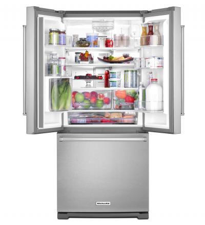 """30"""" KitchenAid  20 cu. Ft. Standard Depth French Door Refrigerator with Interior Dispense KRFF300ESS"""