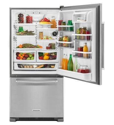 "33"" KitchenAid 22 cu.ft. Full Depth Non Dispense Bottom Mount Refrigerator KRBR102ESS"