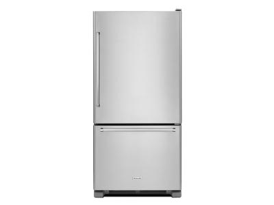 "30"" KitchenAid 19 cu.ft. Full Depth Non Dispense Bottom Mount Refrigerator KRBR109ESS"