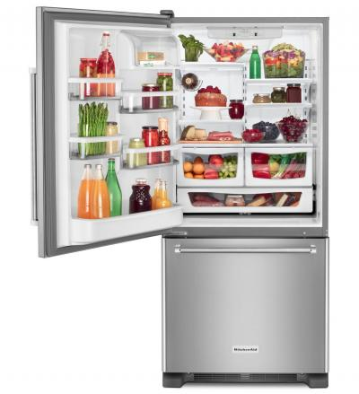 "30"" KitchenAid 19 cu.ft. Full Depth Non Dispense Bottom Mount Refrigerator KRBL109ESS"