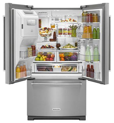 "36"" KitchenAid  Standard Depth French Door Refrigerator with Exterior Ice and Water and PrintShield™ finish-KRFF507HPS"