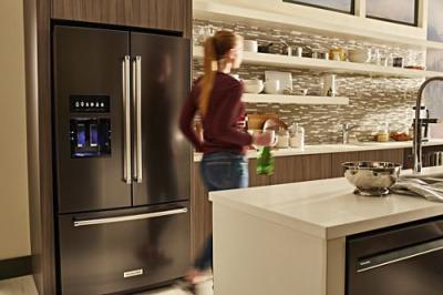 """36"""" KitchenAid Standard Depth French Door Refrigerator With Exterior Ice KRFF507HBS"""