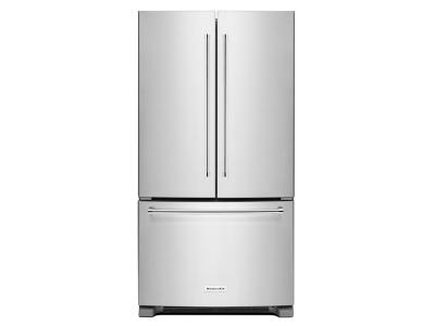 "36"" KitchenAid 25 cu. ft. Standard Depth French Door Refrigerator with Interior Dispense - KRFF305ESS"