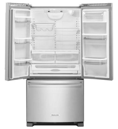 """33"""" KitchenAid 22 cu. Ft. Width Standard Depth French Door Refrigerator with Interior Dispense - KRFF302ESS"""