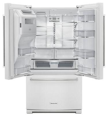 "36"" KitchenAid 26.8 cu. ft. Standard Depth French Door Refrigerator with Exterior Ice and Water-KRFF507HWH"