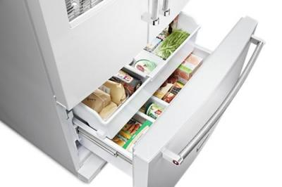 """36"""" KitchenAid 26.8 cu. ft. Standard Depth French Door Refrigerator with Exterior Ice and Water-KRFF507HWH"""