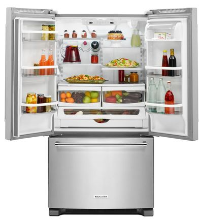 "36"" KitchenAid 20 cu. ft. Width Counter-Depth French Door Refrigerator with Interior Dispense - KRFC300EWH"