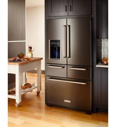 "36"" KitchenAid Multi-Door 25.8 Cu. Ft.  Freestanding Refrigerator with Platinum Interior Design KRMF706ESS"