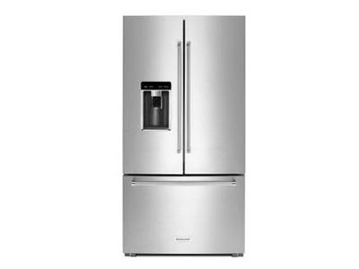 "36"" KitchenAid 23.8 cu. ft. Counter-Depth French Door Platinum Interior Refrigerator KRFC704FSS"