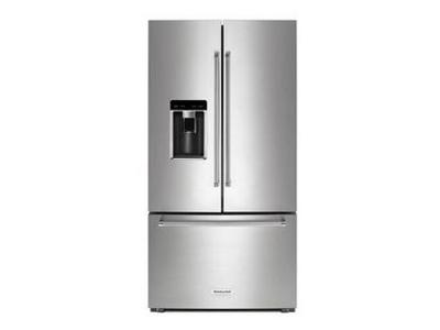 "36"" KitchenAid 23.8 cu. ft. Counter-Depth French Door Platinum Interior Refrigerator KRFC704FPS"