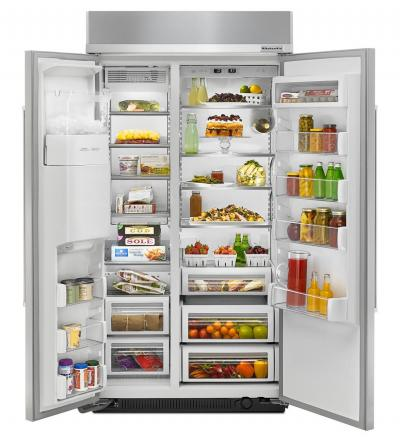 "42"" KitchenAid®25.5 cu. ft Width Built-In Side by Side Refrigerator KBSD602ESS"