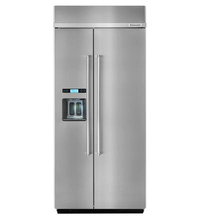 "36"" KitchenAid 20.8 cu ft Width Built-In Side-by-Side Refrigerator KBSD606ESS"