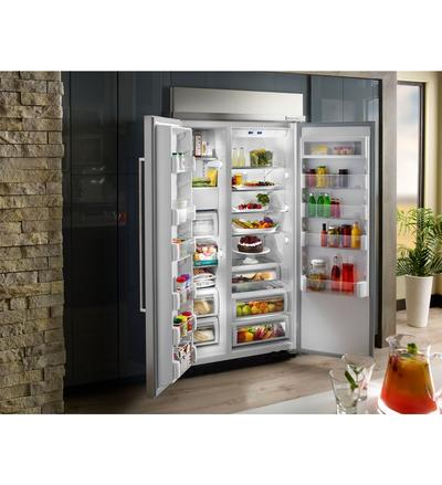 "42"" kitchenAid25.5 cu. ft. Width Built-In Side by Side Refrigerator KBSN602EPA"