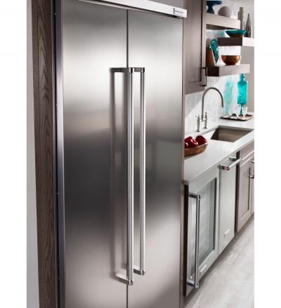 "42"" KithenAid  25.5 cu. ft Built-In Side by Side Refrigerator with PrintShield Finish - KBSN602EBS"