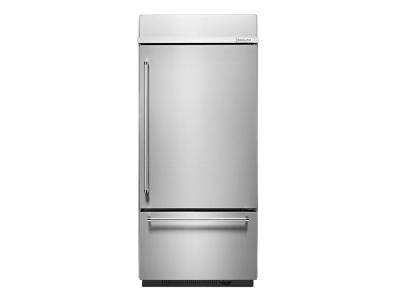"36"" KitchenAid 20.9 Cu. Ft.  Built-In Stainless Bottom Mount Refrigerator with Platinum Interior Design - KBBR306ESS"