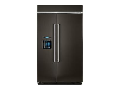 "48"" KitchenAid 29.5 cu. ft Width Built-In Side by Side Refrigerator KBSD608EBS"