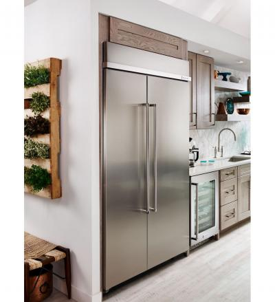 "48"" KitchenAid 30.0 cu. ft Built-In Side by Side Refrigerator with PrintShield Finish - KBSN608EBS"