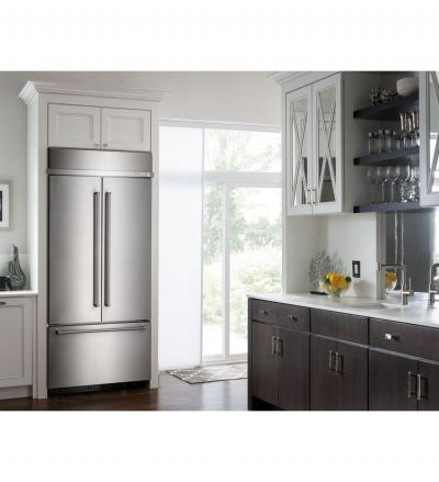 "36"" KitchenAid 20.8 Cu. Ft. Built In Stainless Steel French Door Refrigerator with Platinum Interior Design - KBFN506EBS"