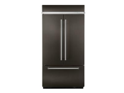 "42"" KitchenAid 24.2 Cu. Ft. Width Built-In Stainless French Door Refrigerator with Platinum Interior Design KBFN502EBS"