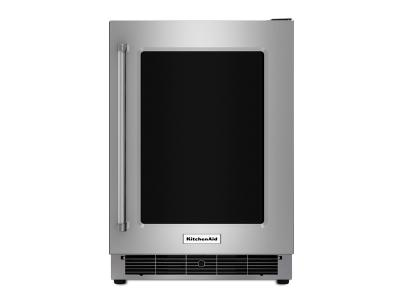 "24"" KitchenAid Stainless Steel Undercounter Refrigerator with Metal-Front Glass Shelves - KURR304ESS"