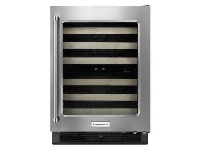 "24"" KitchenAid Stainless Steel Wine Cellar with Wood-Front Racks - KUWR204ESB"
