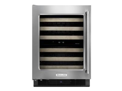 "24"" KitchenAid Stainless Steel Wine Cellar with Wood-Front Racks - KUWL204ESB"
