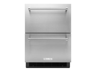 "24"" KitchenAid® Stainless Steel Double Refrigerator Drawer KUDR204ESB"