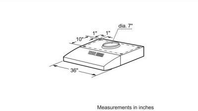 "36"" Bosch 300 Series Under Cabinet Wall Hood Stainless Steel - DUH36152UC"