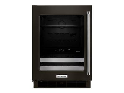 "24"" KitchenAid Black Stainless Steel Beverage Center with SatinGlide Metal-Front Racks - KUBL304EBS"