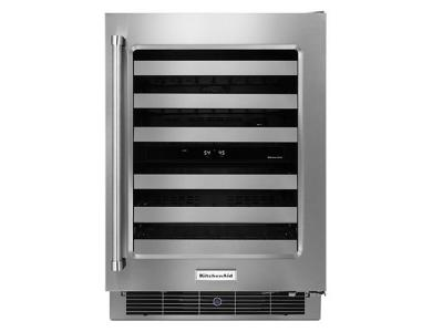 "24"" KitchenAid  Stainless Steel Wine Cellar with Metal-Front Racks - KUWR304ESS"