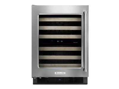 "24"" KitchenAid Stainless Steel Wine Cellar with Metal-Front Racks - KUWL304ESS"