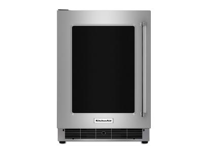 "24"" KitchenAid Stainless Steel Undercounter Refrigerator with Metal-Front Glass Shelves - KURL304ESS"