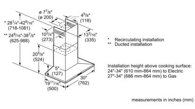 """30"""" Bosch 300 Series Wall mount hood with 300 CFM  - HCP30E52UC"""