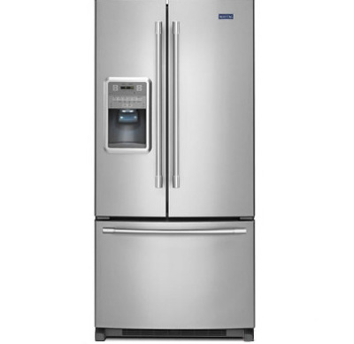 """33"""" Maytag 22 Cu. Ft. French Door Refrigerator with Beverage Chiller Compartment MFI2269FRB"""