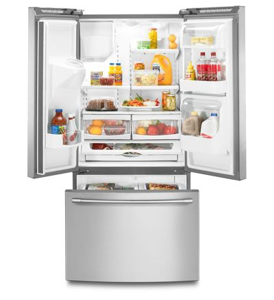 """33"""" Maytag 22 Cu. Ft. French Door Refrigerator with Beverage Chiller Compartment MFI2269FRZ"""