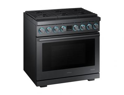 """36"""" Samsung Dual Fuel Pro Range, Black Stainless Steel - NY36R9966PM"""