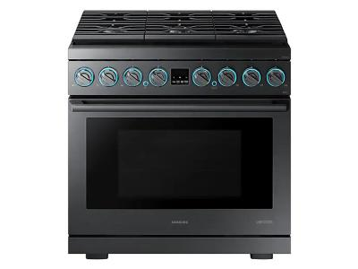 "36"" Samsung Dual Fuel Pro Range, Black Stainless Steel - NY36R9966PM"