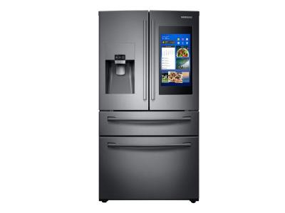 "36"" Samsung 28 cu. ft. 4-Door French Door with 21.5 in. Connected Touch Screen Family Hub Refrigerator - RF28NHEDBSG"