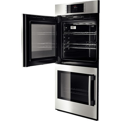 """30"""" Bosch 4.6 Cu. Ft. Benchmark Series Double Wall Oven With Left Swing Door In Stainless Steel - HBLP651LUC"""