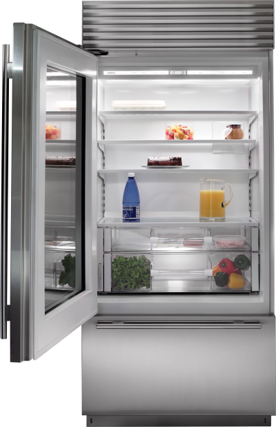 "36"" SUBZERO Built-In Over-and-Under Glass Door Refrigerator/Freezer - BI-36UG/S/PH-RH"