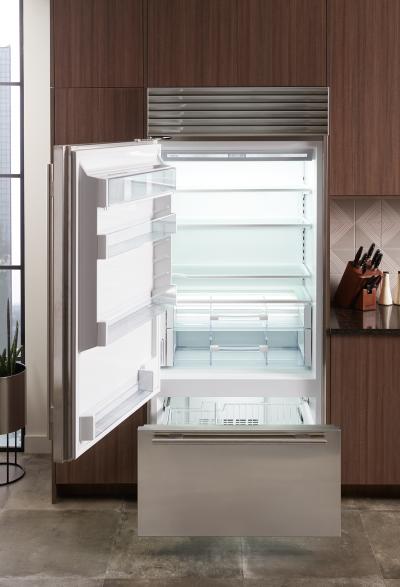 "36"" SUBZERO  Built-In Over-and-Under Refrigerator/Freezer with Internal Dispenser - BI-36UID/S/TH-LH"