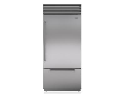 "36"" SUBZERO Built-In Over-and-Under Refrigerator/Freezer with Internal Dispenser - BI-36UID/S/PH-RH"