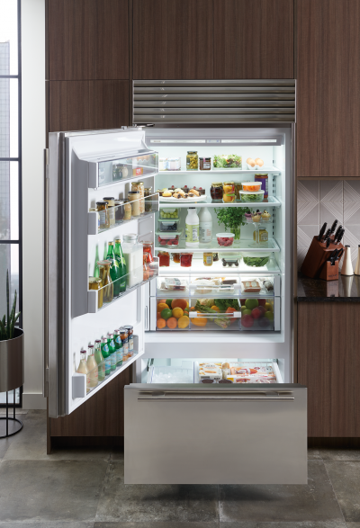 "36""SUBZERO Built-In Over-and-Under Refrigerator/Freezer with Internal Dispenser - BI-36UID/S/PH-LH"